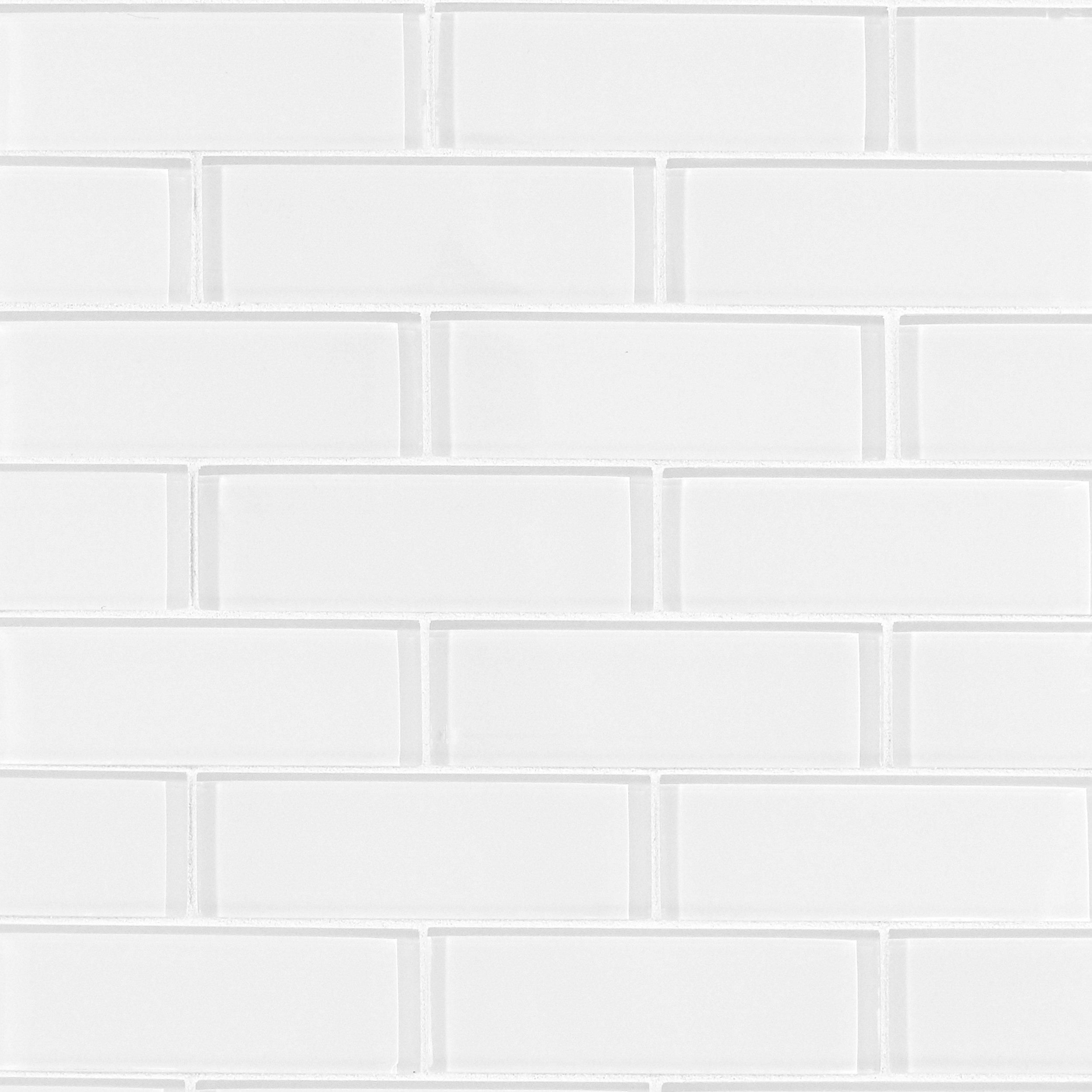Pure Snow Ii 2 X 6 Inch Brick Glass Mosaic Tile 12 Inch X 12 Inch White 0 3 Inch Thick Floor Decor In 2020 White Glass Tile Mosaic Glass Glass Mosaic Tiles