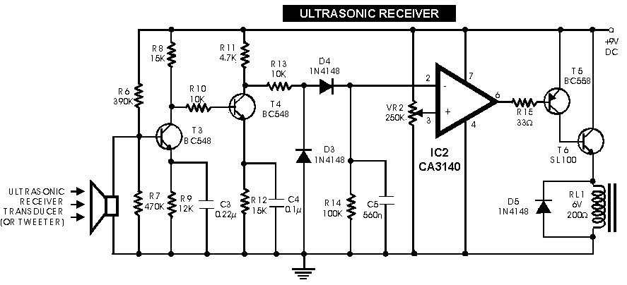 ultrasonic receiver switch electronic projects pinterest rh pinterest com Basic Circuit Diagram Switch Schematic Circuit Diagram