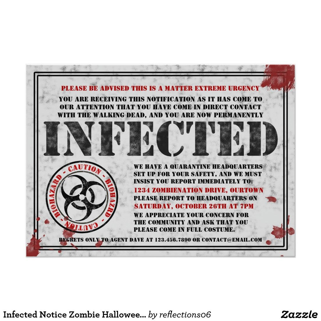 Infected Notice Zombie Halloween Party Invitations | Zombie ...