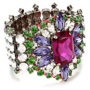 """LK Designs """"Summer Breeze"""" Multi-Color Neon Crystal Flower Bracelet"""