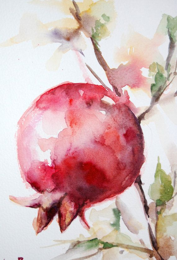 red pomegranate branch original watercolor painting the. Black Bedroom Furniture Sets. Home Design Ideas