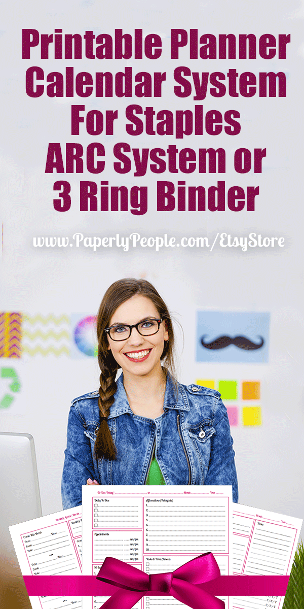 printable planner calendar system for staples arc system or 3 ring