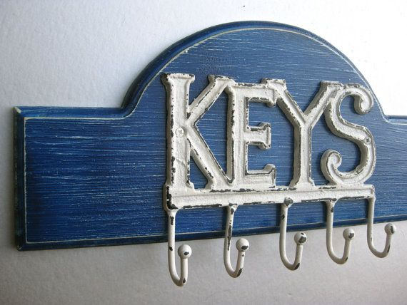 Beach Key Hooks Blue Key Hooks Rustic Farmhouse Beach by Swede13, $34.50
