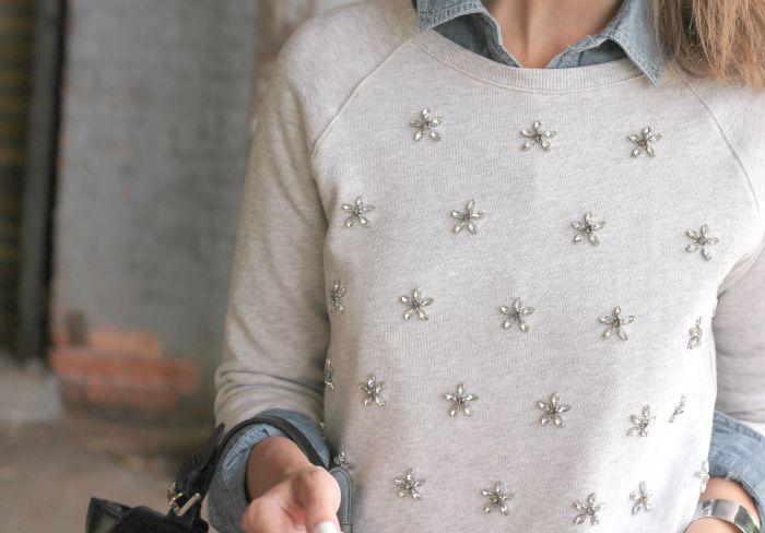 Weekend Sparkle- f21 sparkle sweatshirt