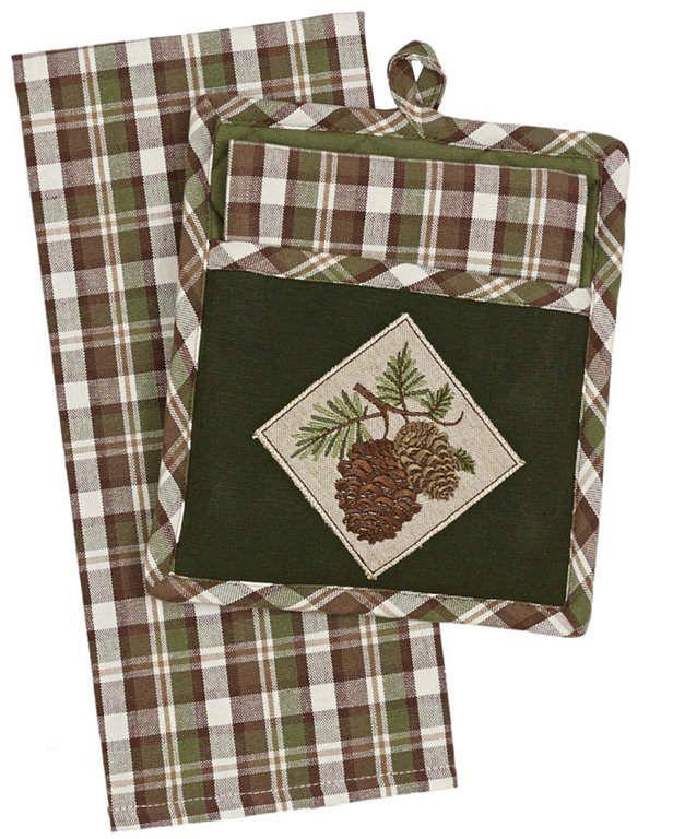 Design Imports Wood Pine Gift Set Potholder With Dishtowel Pot