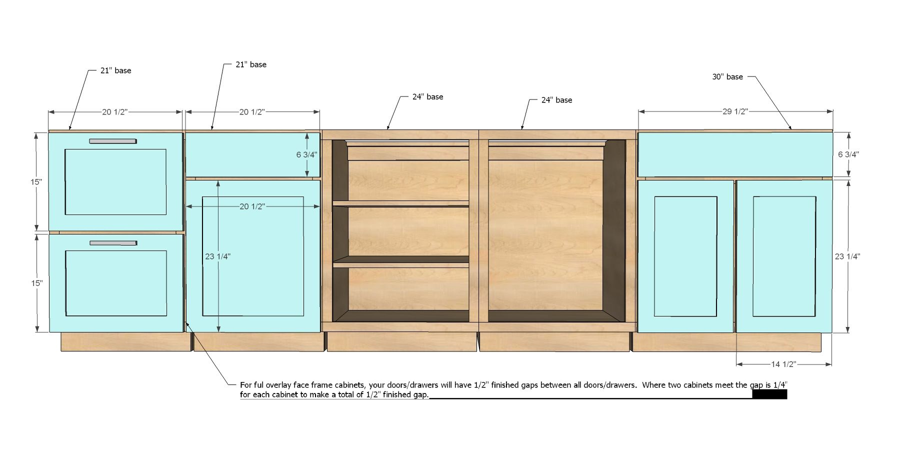 Ana white build a face frame base kitchen cabinet for Basic kitchen base units