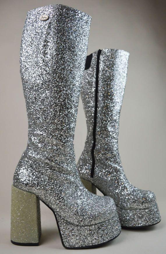 silver glitter boots uk