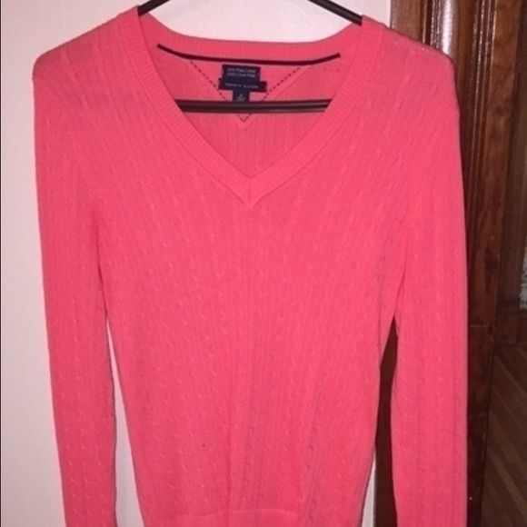 Coral Tommy Hilfiger Sweater Beautiful cable knit V-neck sweater. Authentic Tommy Hilfiger Tommy Hilfiger Sweaters V-Necks