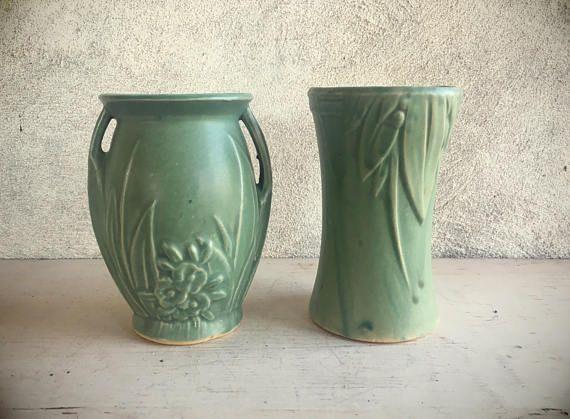 1930s To 40s Mccoy Pottery Vase Green Matte Mccoy Vase Green
