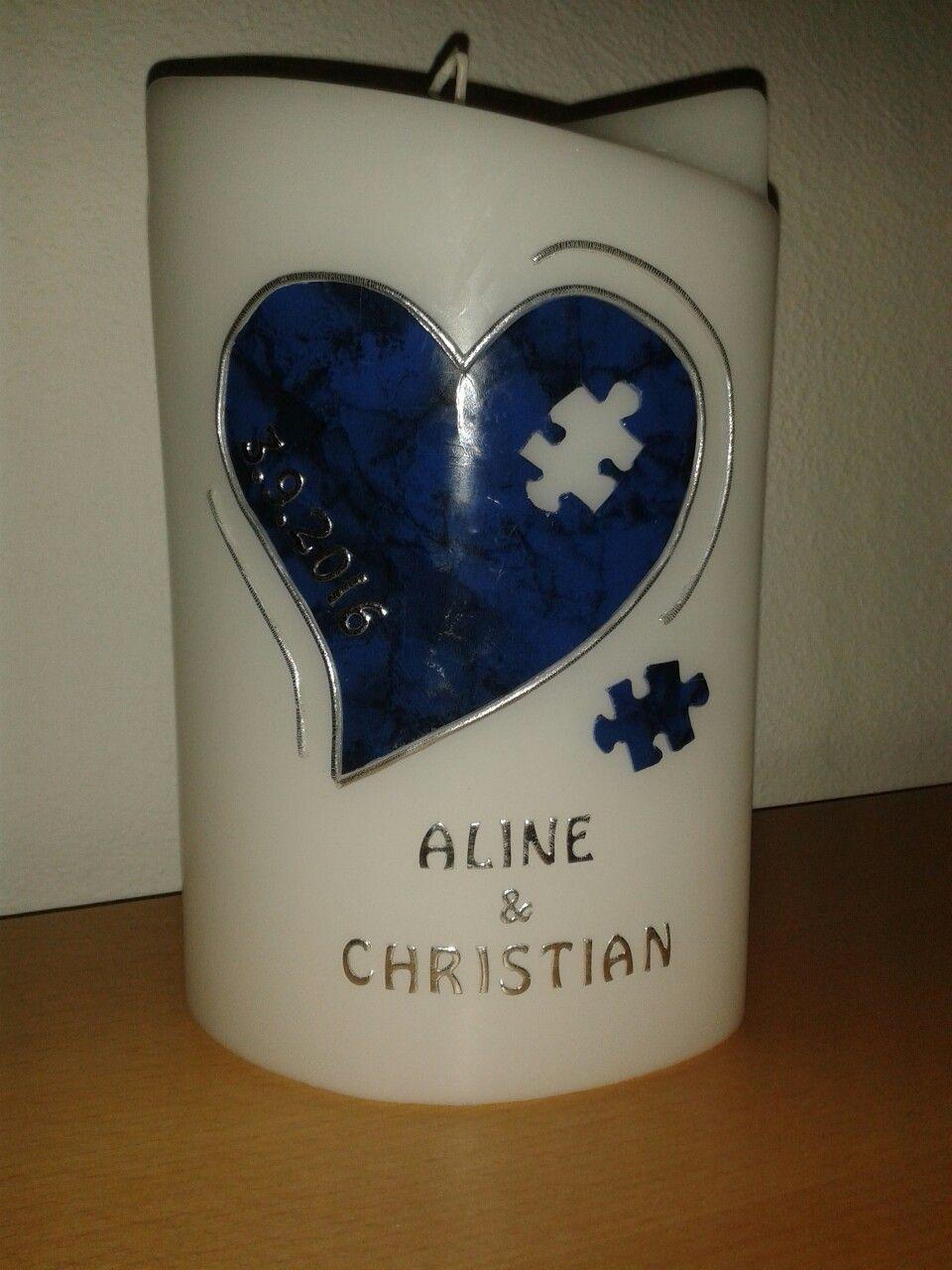 Hochzeitskerze Puzzle blau Hochzeit Pinterest
