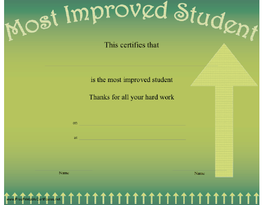 An upward arrow on green forms the background on this certificate most improved student certificate printable certificate yelopaper Images