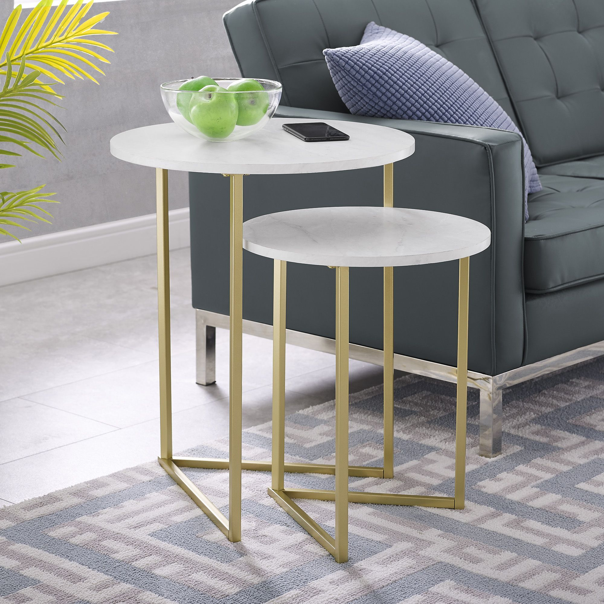 Free 2 Day Shipping Buy Manor Park 2 Piece Round Nesting End Tables White Faux Marble Gold At Walmart Com Nesting Tables Nesting End Tables End Tables [ 2001 x 2000 Pixel ]