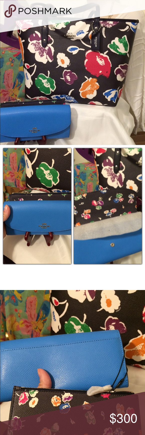 NWT Coach Street wildflower tote set NWT Coach Street Wildflower large tote set. Black and multi. Comes with full size Coach wallet with pop up pouch with coordinating color with wildflower print on the inside and on the pop out pouch. Coach Bags Totes