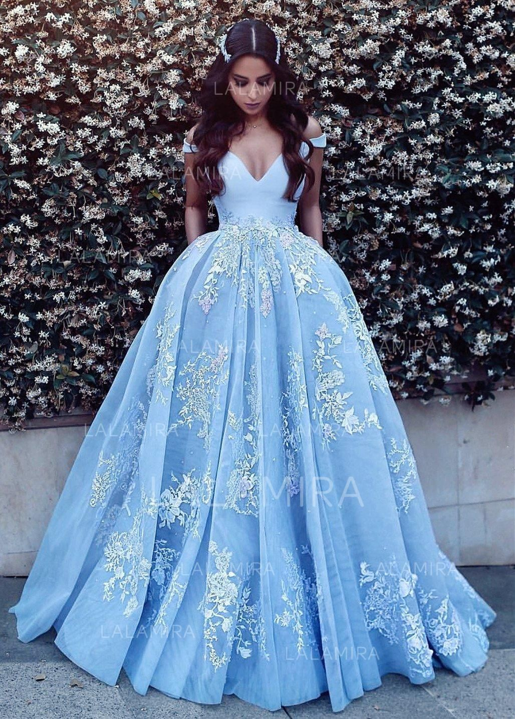 Ballgown tulle prom dresses appliques lace offtheshoulder