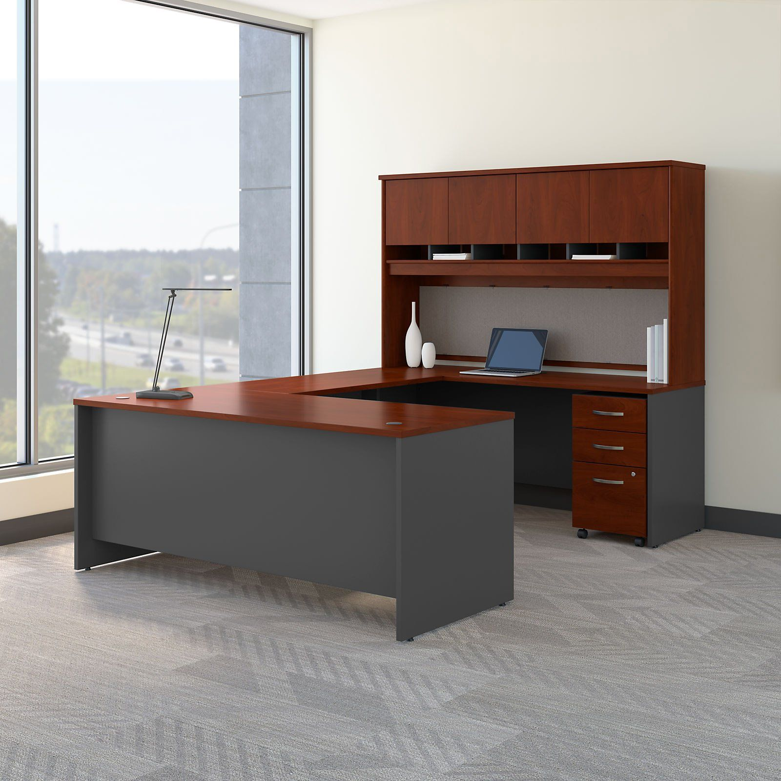 Bush Business Furniture Series C 72 In U Shaped Desk With Mobile File Cabinet And Optional Hutch Cheap Office Furniture Front Office Furniture Bush Furniture