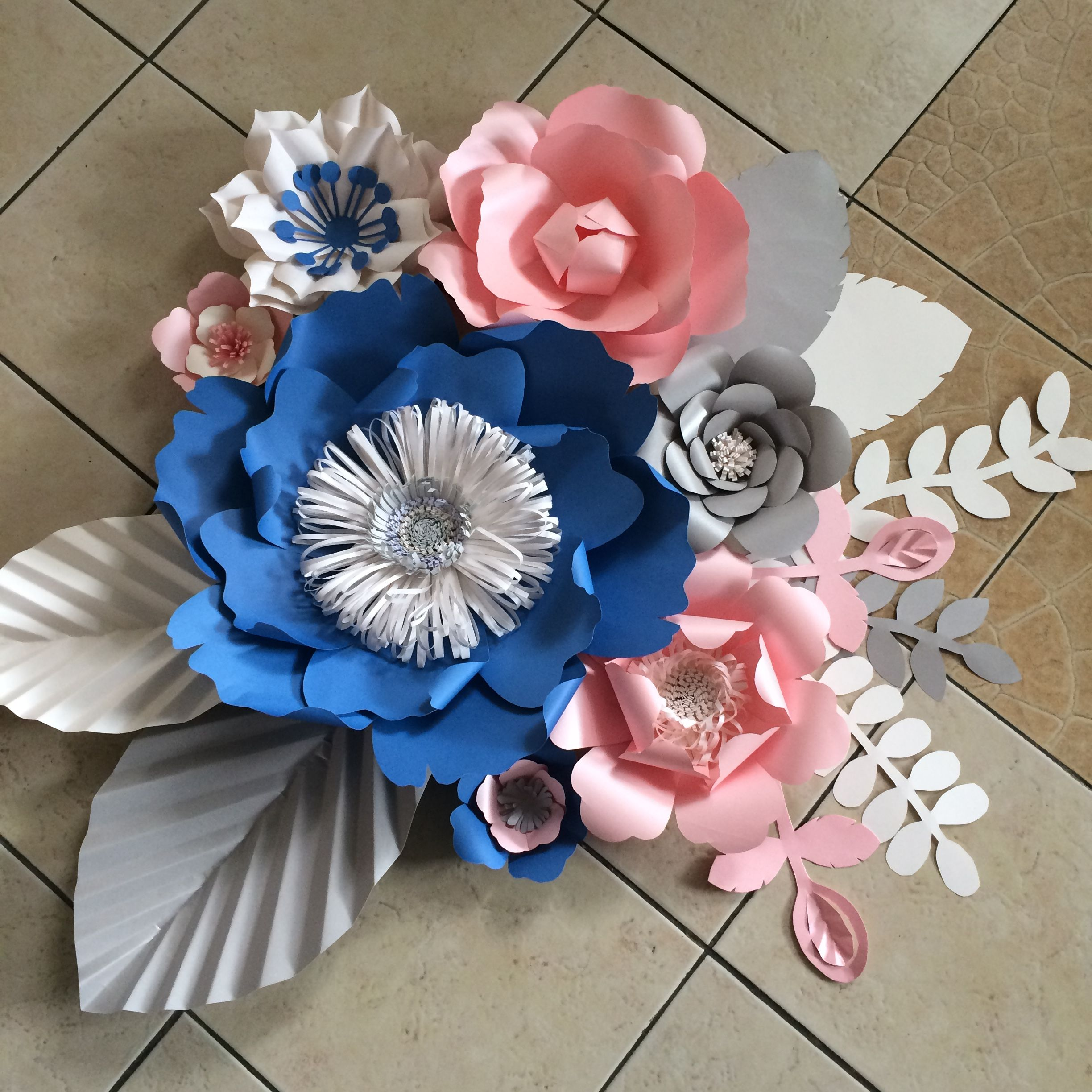 Blue rose quartz gray and white  for paper flower wall for a