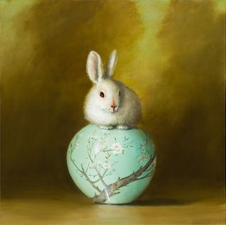 Rabbit and Vase by David Kroll , 2008, oil on linen