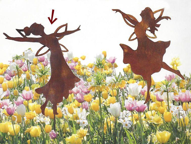 Fee elfe tanzend mit zopf rost edelrost gartenstecker for Edelrost skulpturen