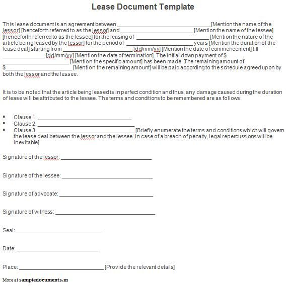 Lease-Document-Templatejpg 568×569 pixels work ideas Pinterest - lease document template