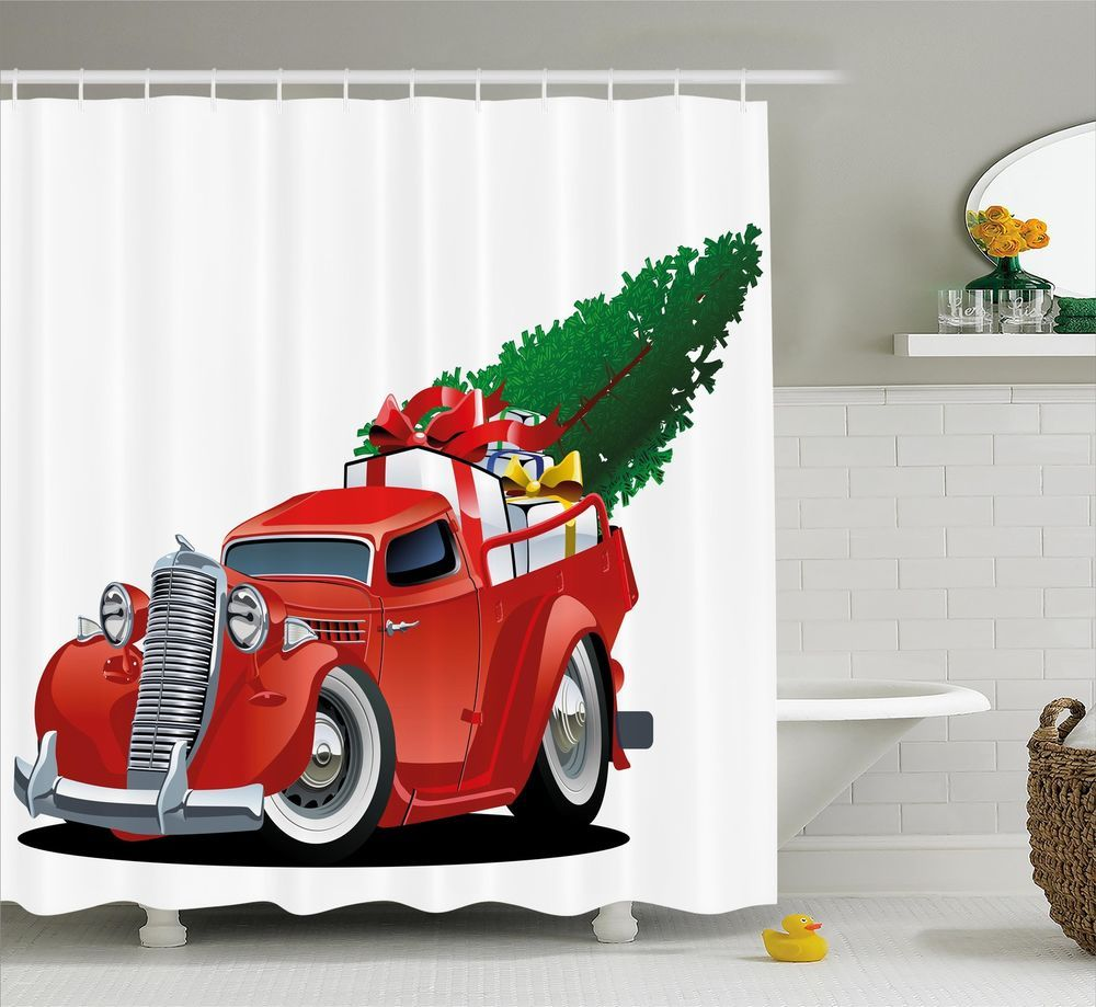 Christmas Shower Curtain Red American Truck Bathroom Decor