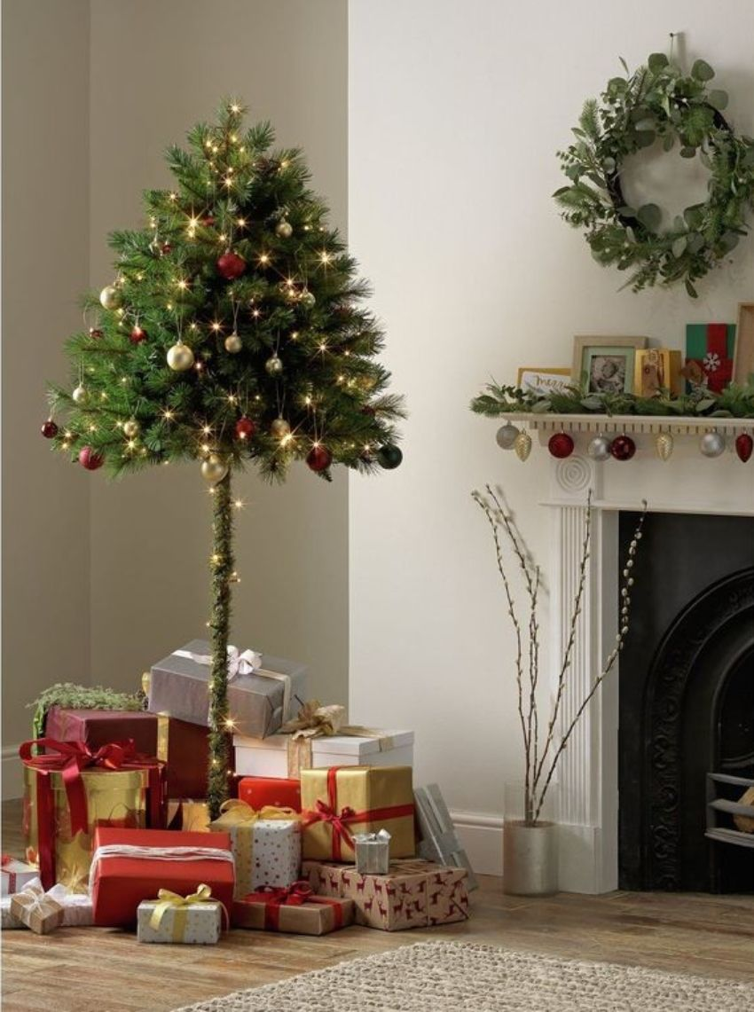 Argos Is Selling A Half Christmas Tree That Protects Your Decorations From Cats And Kids Half Christmas Tree Tall Christmas Trees Cat Christmas Tree