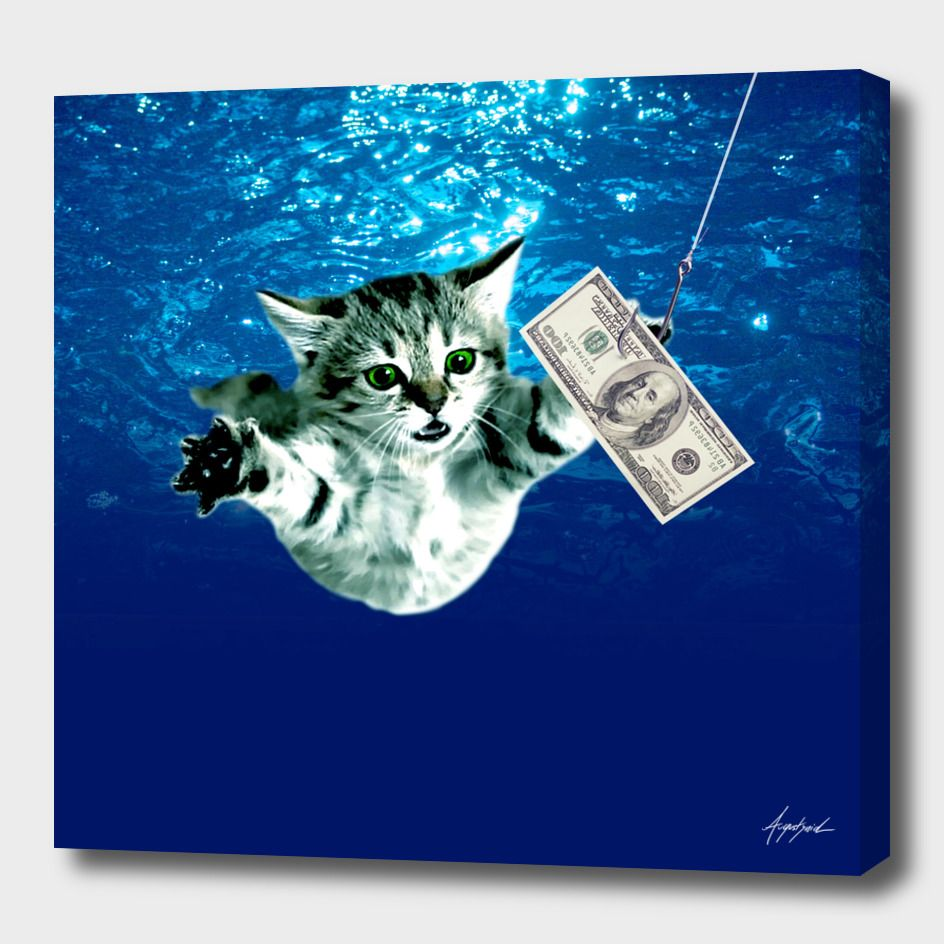 Cat Nevermind Album Cover Under Water Baby Canvas Print By Damian Augustyniak Numbered Edition From 59 Curioos Baby Canvas Album Covers Canvas Prints