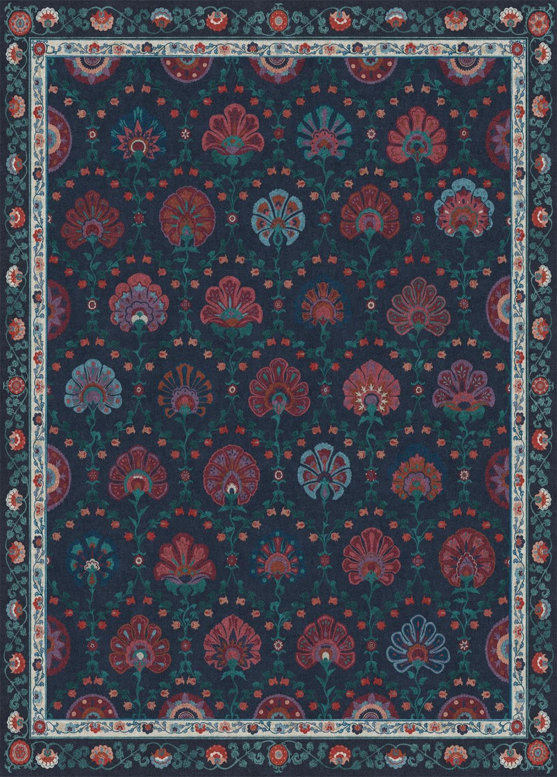 Sibel Sapphire Washable Rugs A Delightful Color Palette Of Garnet Teal Blue And Deep Navy Brightens And Beautifies Rugs Washable Rugs Machine Washable Rugs