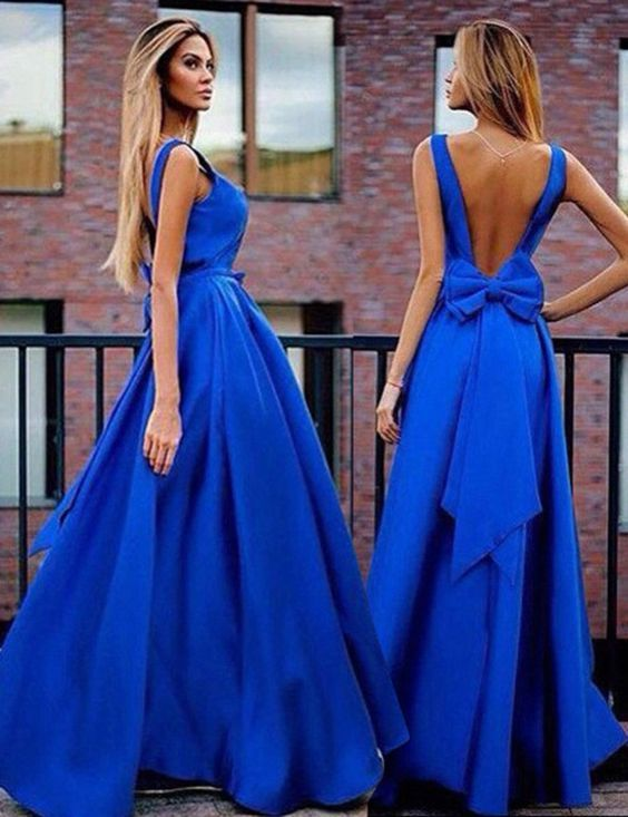 a1cae632072 Royal Blue Backless Sexy Party Prom Dresses 2017 new style fashion evening  gowns for teens girls