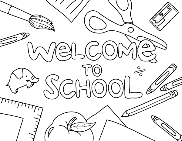 """Free printable """"Welcome to School"""" coloring page. Download ..."""