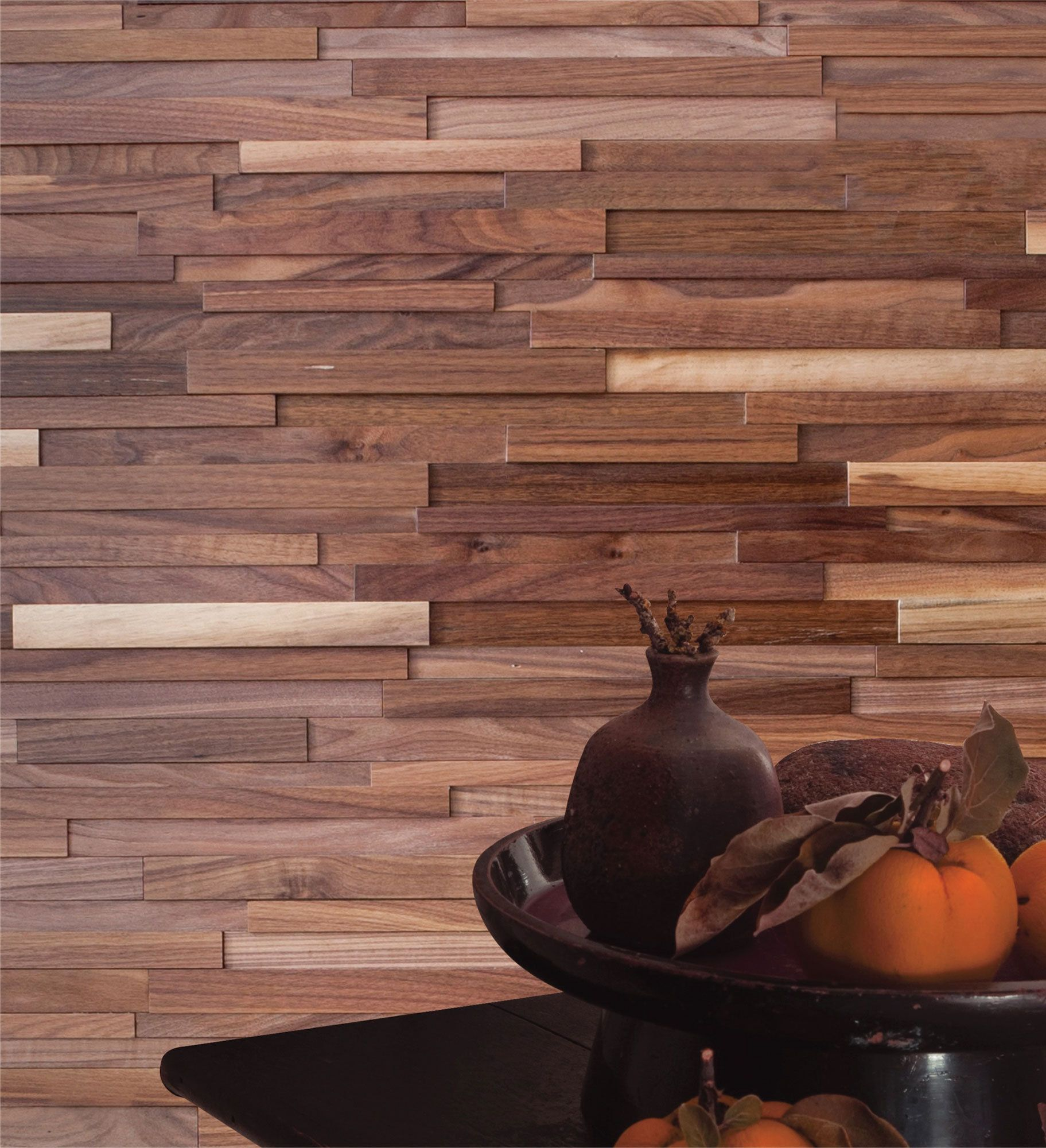 Black Walnut Solid Hardwood 3d Wood Wallscape Wall Covering Diy Friendly Interlocking Planks 7 7 8 H X 47 1 4 W X 1 2 Wood Panel Walls Wood Solid Hardwood