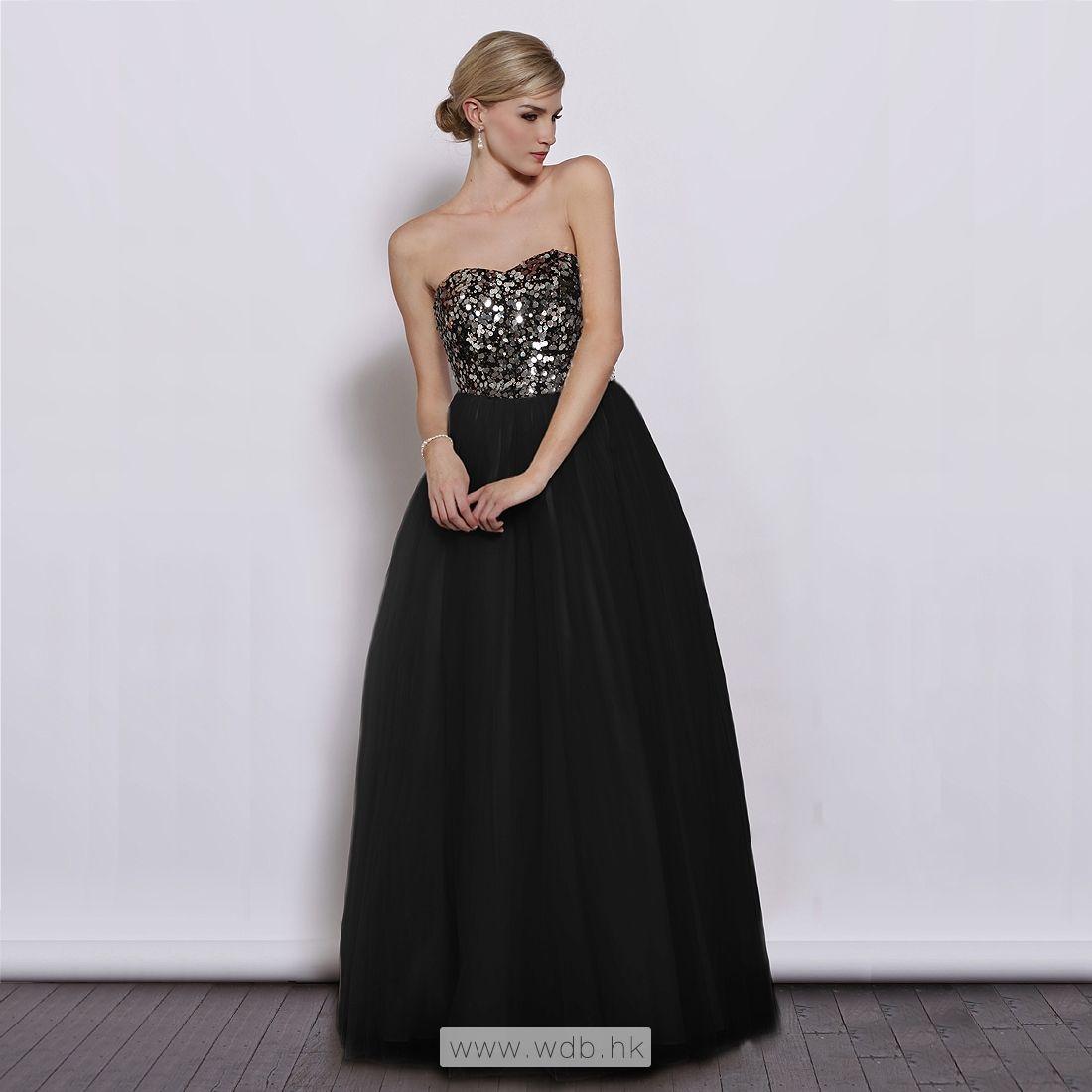 Sweetheart sequin top with aline tulle skirt floorlength dress