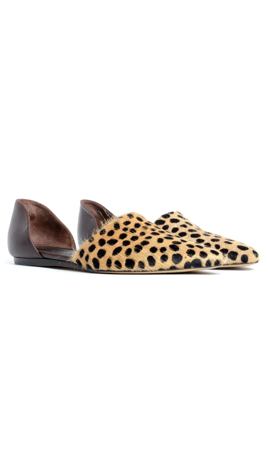 151a54ff7fb8 Cheetah printed pony hair pointed toe flat with brown leather. Heel 1/2