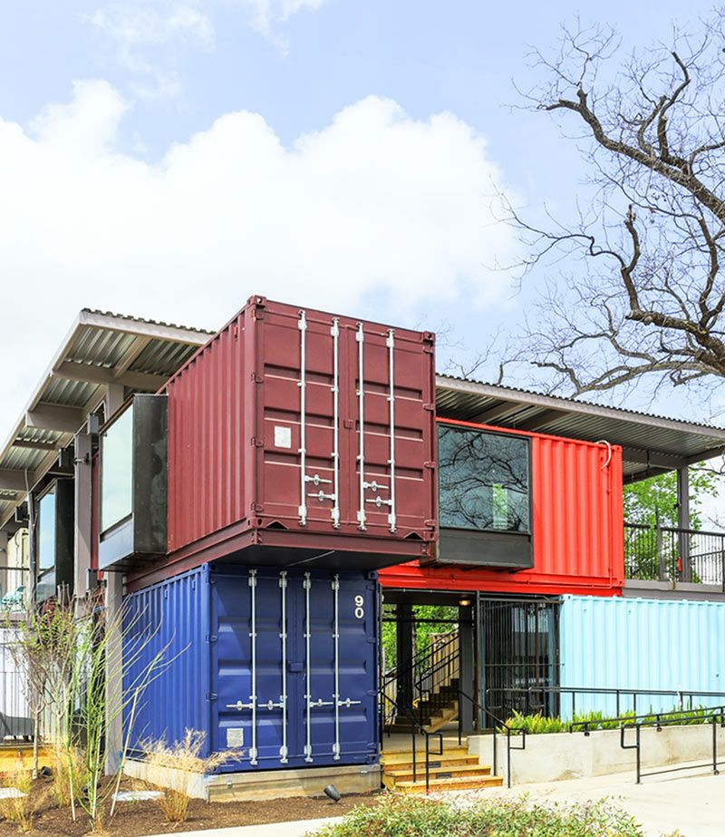 The container bar in austin texas designed by north arrow studio and hendley knowles design - Shipping container homes austin ...