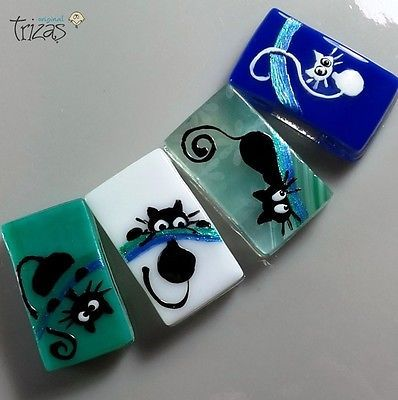 TRIZAS-ORIGINAL Handmade lampwork fused bead -Cats- TOS0401 SRA