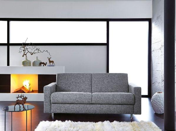 Schlafsofa Stoffbezug Grau #Sofa #Wohnzimmer #Wohnzimmerideen