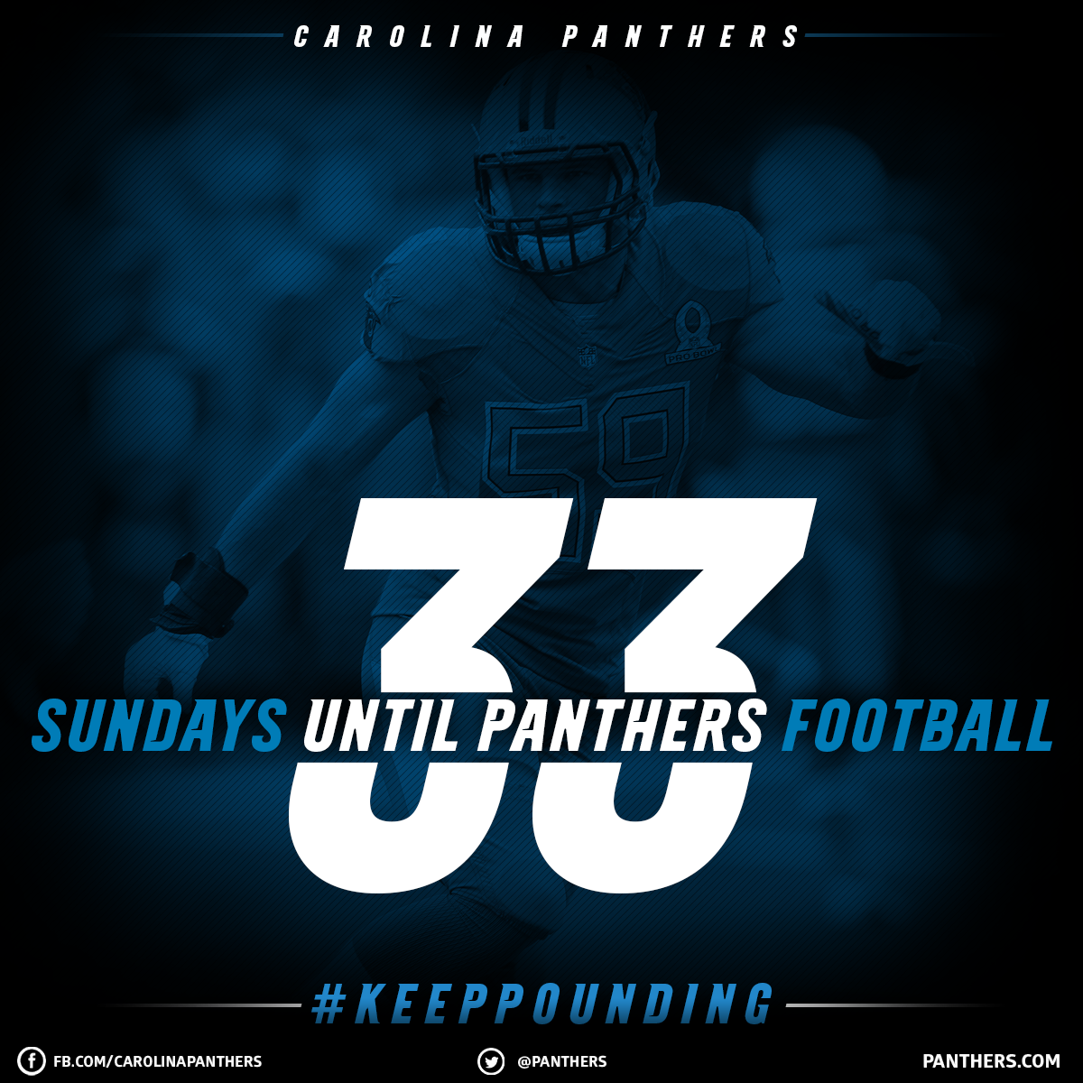 33 More Sundays Until Panthers Football But We Do Get To Watch Luke Kuechly And Greg Olsen In The Prob Carolina Panthers Panthers Football Luke Kuechly