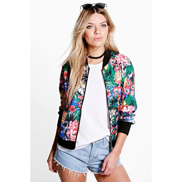 Boohoo Anna Tropical Bomber Jacket ($26) ❤ liked on Polyvore featuring outerwear, jackets, multi, blouson jacket, puffa jacket, flight bomber jacket, puffy jacket and duster coat
