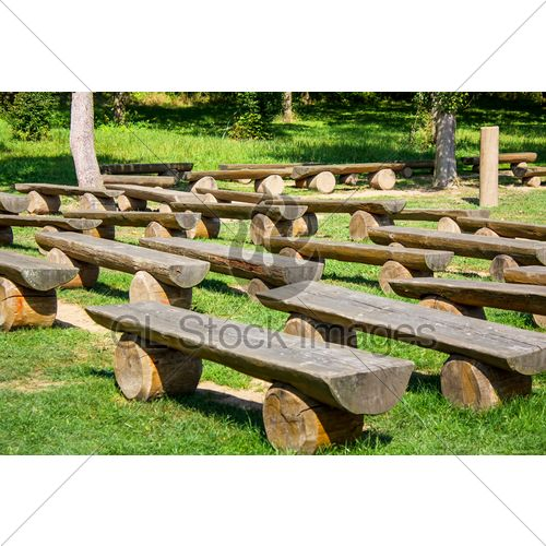 Small Outdoor Amphitheaters Wood Benches On Green