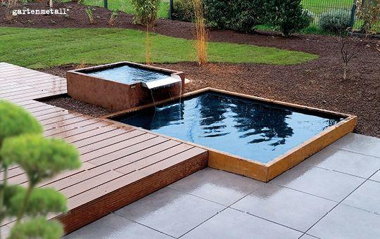 Wasser New garden/house Pinterest Water features, Gardens and - reihenhausgarten und pool