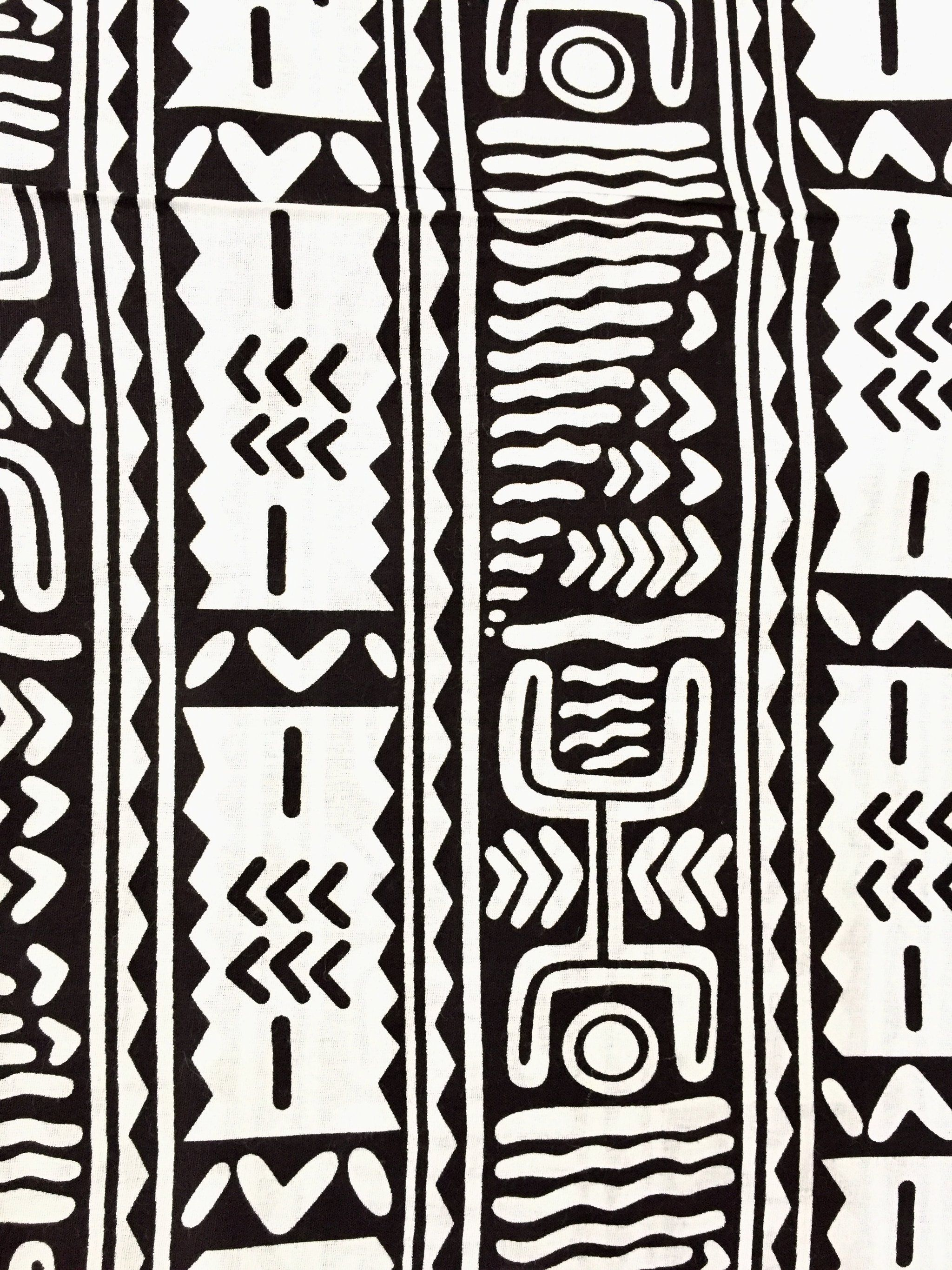 Black and white african print adinkra fabric africanfabric ankara africantextiles