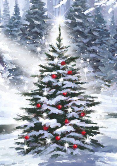 Barbarasangi Personalised Christmas Card Little Christmas Tree Christmas Tree Painting Christmas Paintings Christmas Watercolor