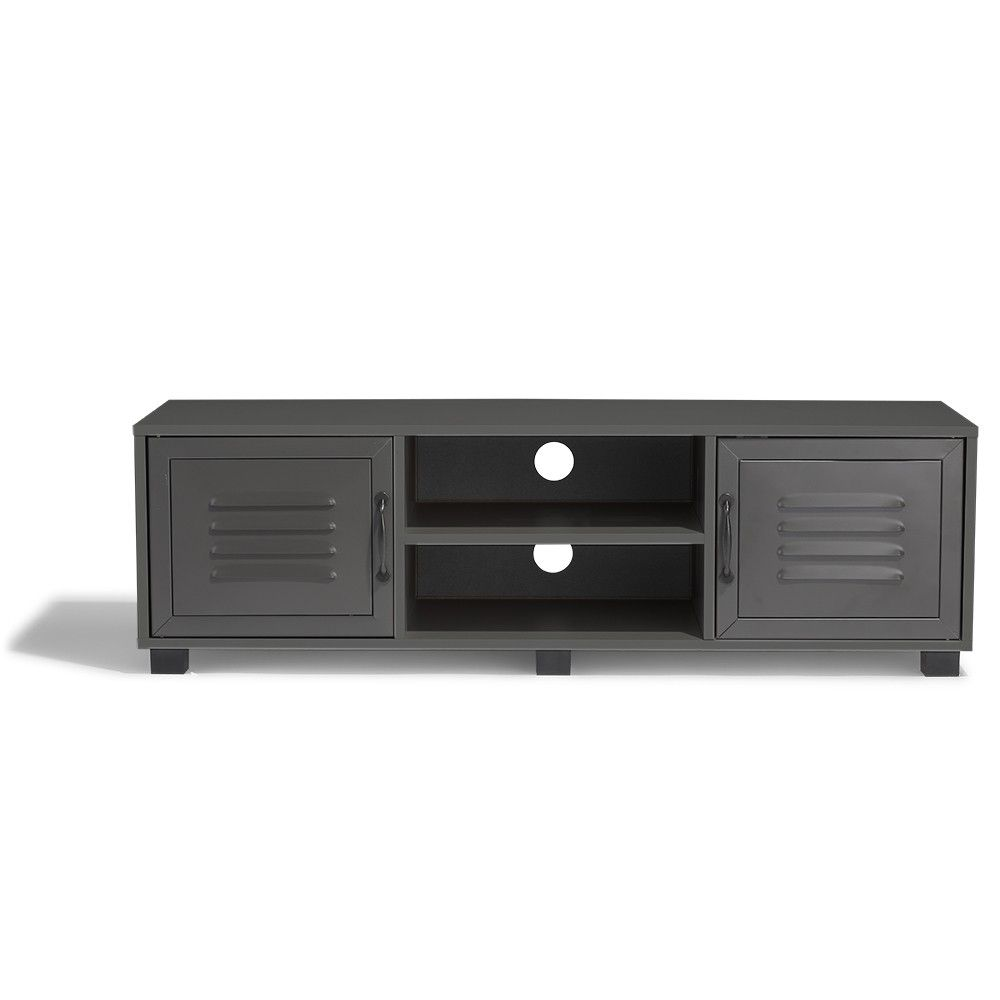 Meuble Tv Scandinave Anthracite Meuble Tv Brooklyn Gris Anthracite 2 Portes Et 2 Niches En