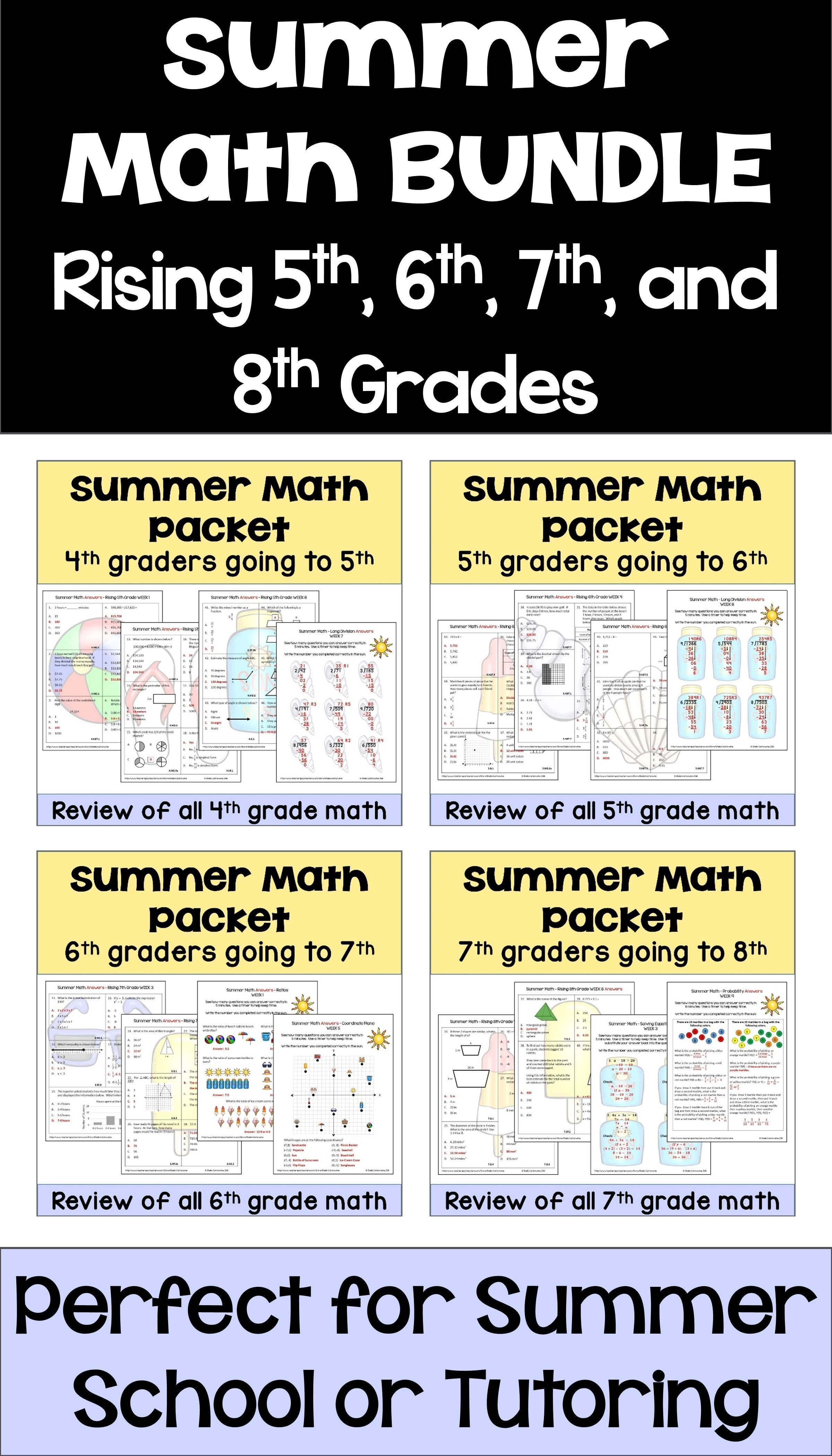 hight resolution of This summer math BUNDLE for rising 5th