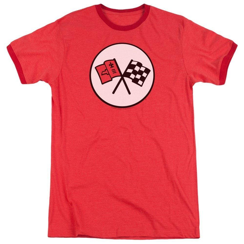 Chevy - 2nd Gen Vette Logo Adult Ringer T- Shirt