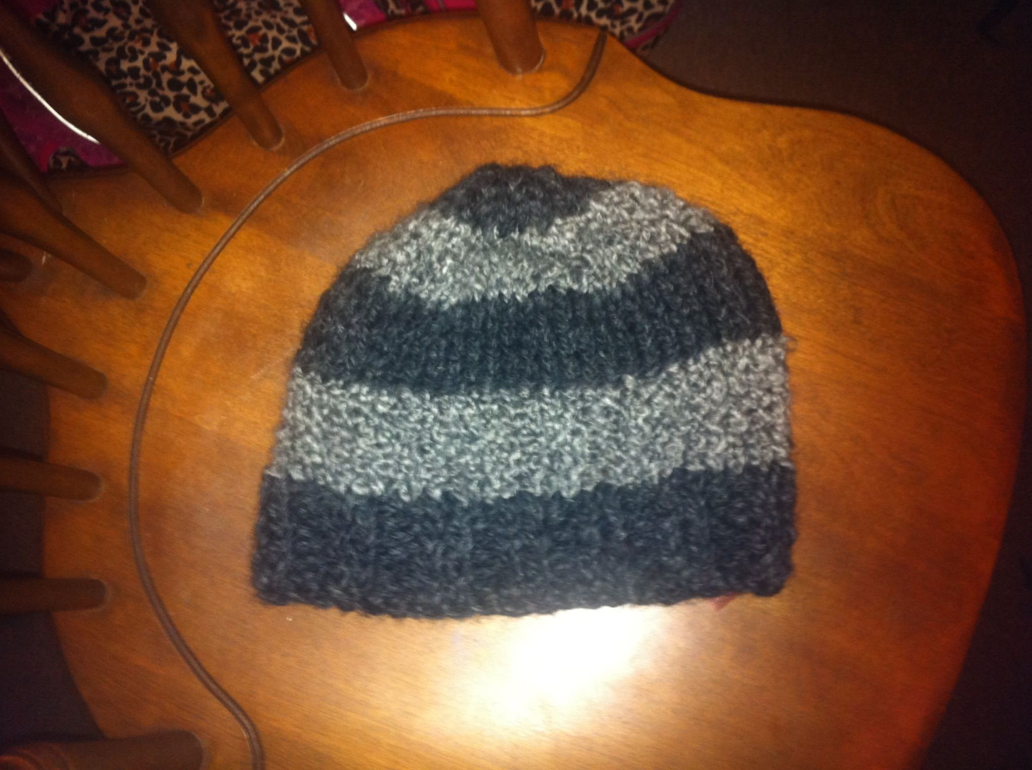 Knitted striped hat