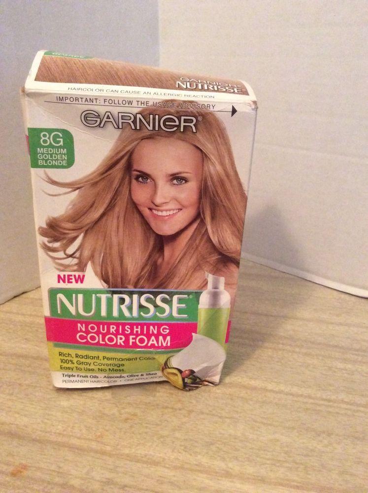 Garnier Nutrisse 8g Medium Golden Blonde Color Foam Hair Dye New