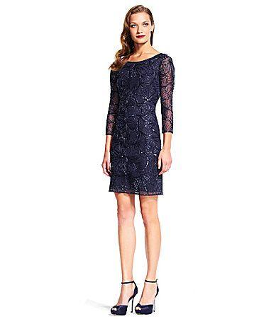 Adrianna Papell Beaded 34 Sleeve Sheath Dress #Dillards