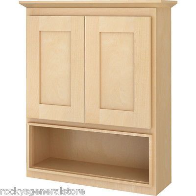 Bathroom Vanity Wall Cabinet Above Toilet Over The John Natural Maple Shaker New Ebay Cabinet Above Toilet Wall Cabinet Bathroom Wall Cabinets