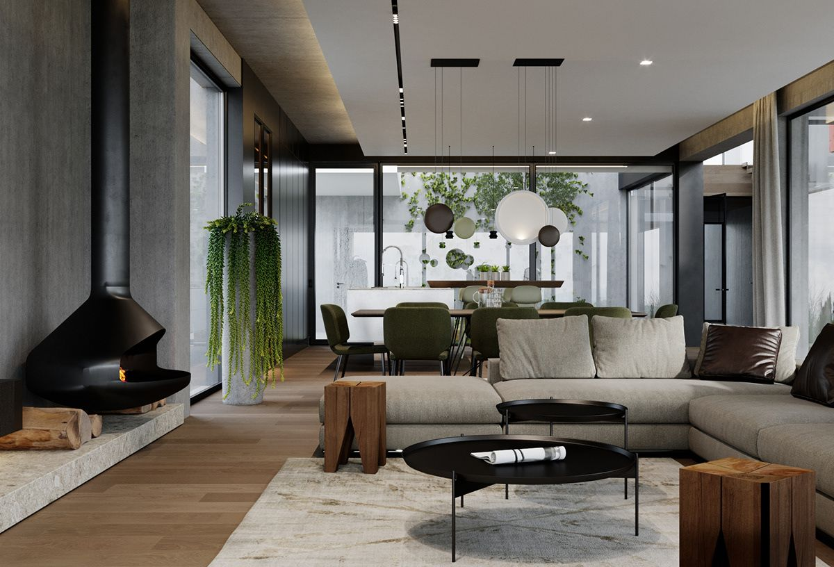 Vineyard Hill Interior On Behance In 2019 Courtyard House