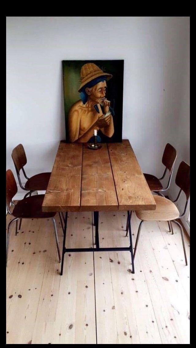 Spisebord, GRATIS LEVERING, RUSTIKT PLANKEBORD, b: 75 l: 140, SÆLGER ...